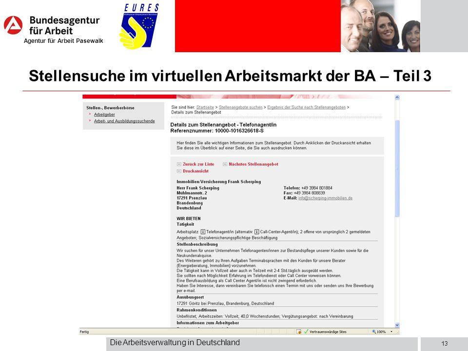 Stellensuche im virtuellen Arbeitsmarkt der BA – Teil 3