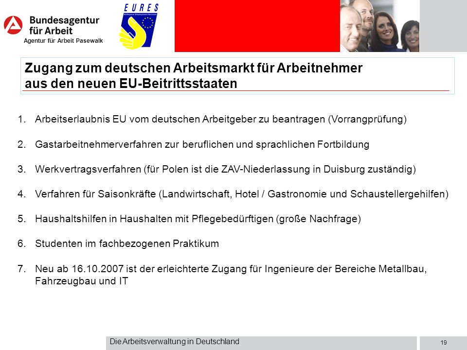 Zugang zum deutschen Arbeitsmarkt für Arbeitnehmer