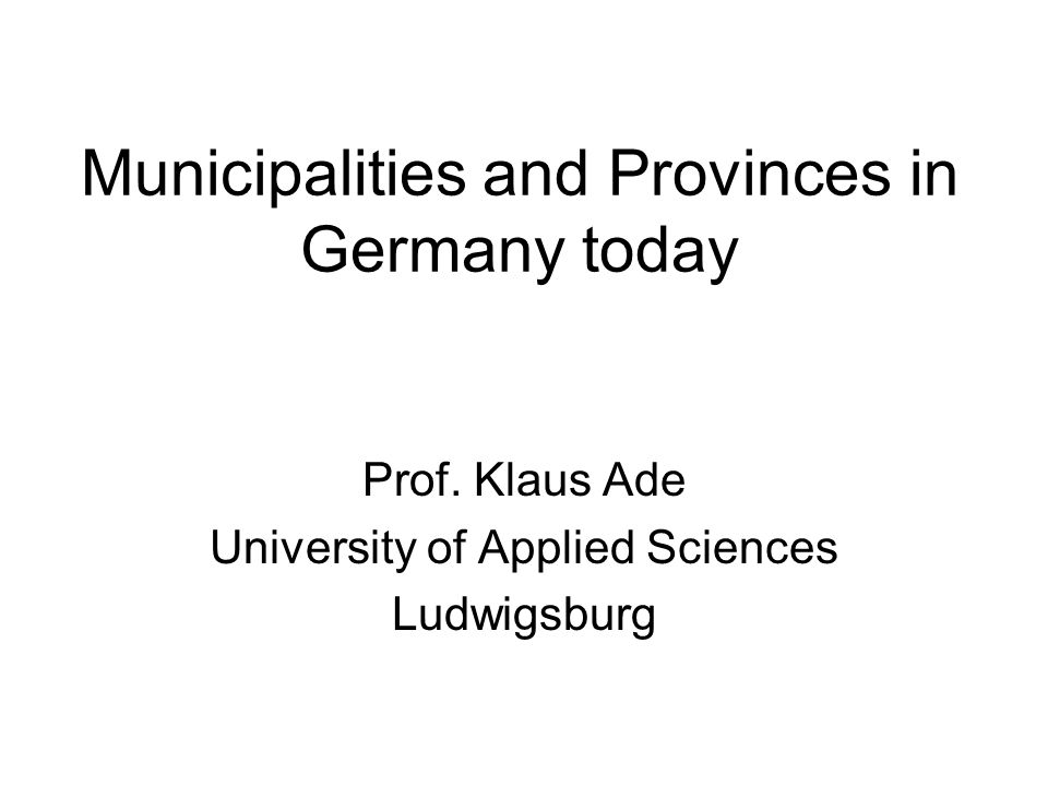 Municipalities and Provinces in Germany today