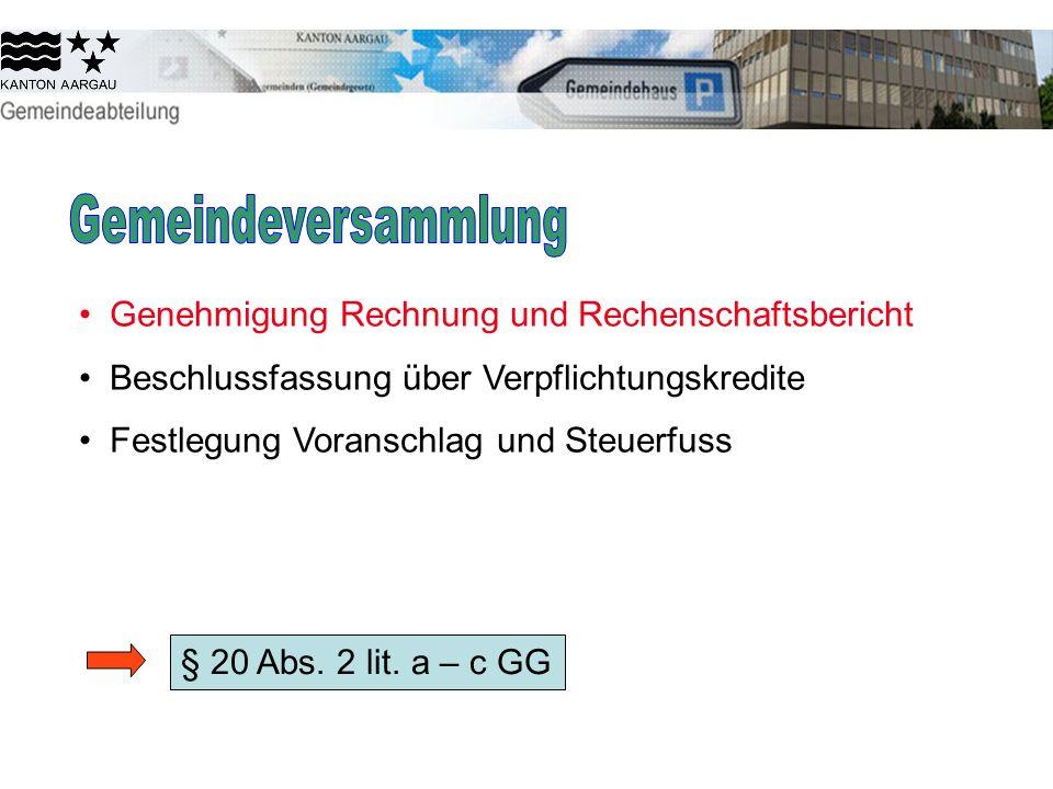 Gemeindeversammlung Genehmigung Rechnung und Rechenschaftsbericht