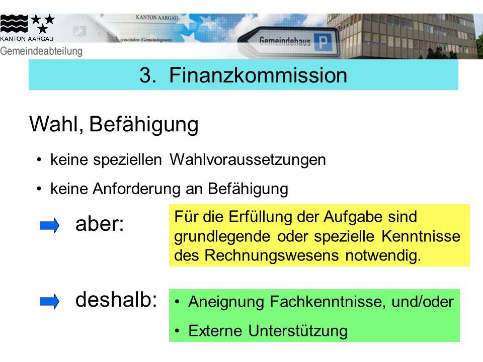 3. Finanzkommission Wahl, Befähigung aber: deshalb: