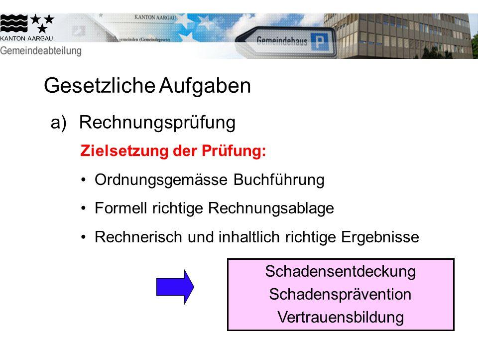 Gesetzliche Aufgaben a) Rechnungsprüfung Zielsetzung der Prüfung: