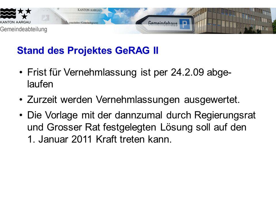 Stand des Projektes GeRAG II