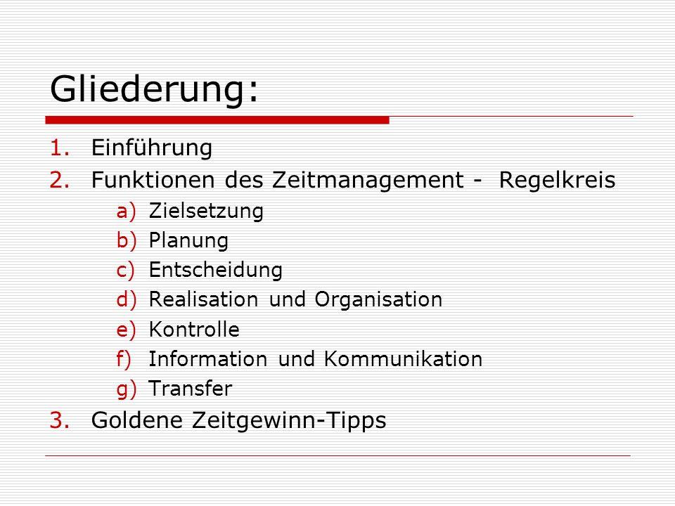 Gliederung: Einführung Funktionen des Zeitmanagement - Regelkreis