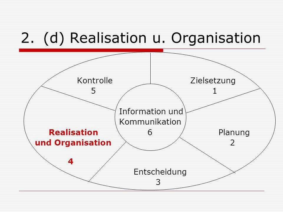 (d) Realisation u. Organisation