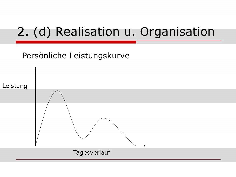 2. (d) Realisation u. Organisation