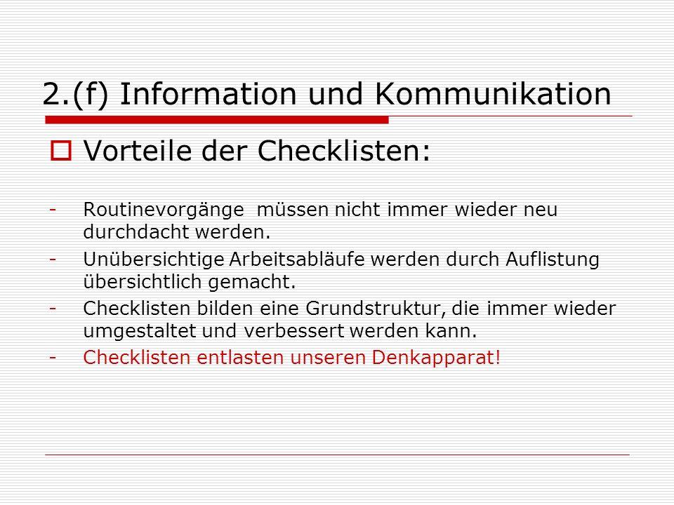 2.(f) Information und Kommunikation