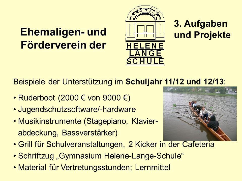 3. Aufgaben und Projekte Beispiele der Unterstützung im Schuljahr 11/12 und 12/13: Ruderboot (2000 € von 9000 €)