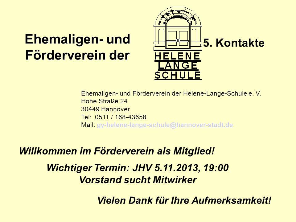 5. Kontakte Willkommen im Förderverein als Mitglied!