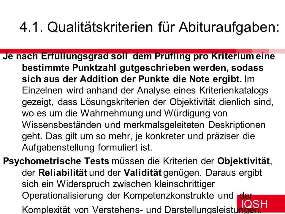 4.1. Qualitätskriterien für Abituraufgaben: