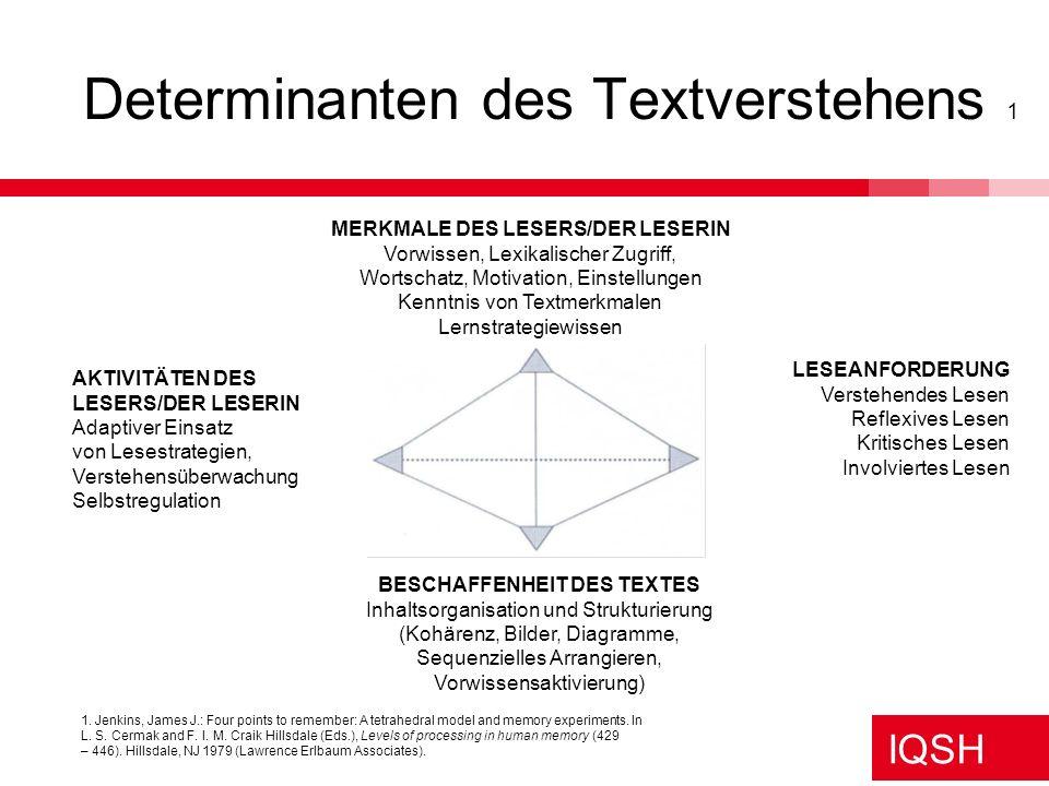 Determinanten des Textverstehens 1