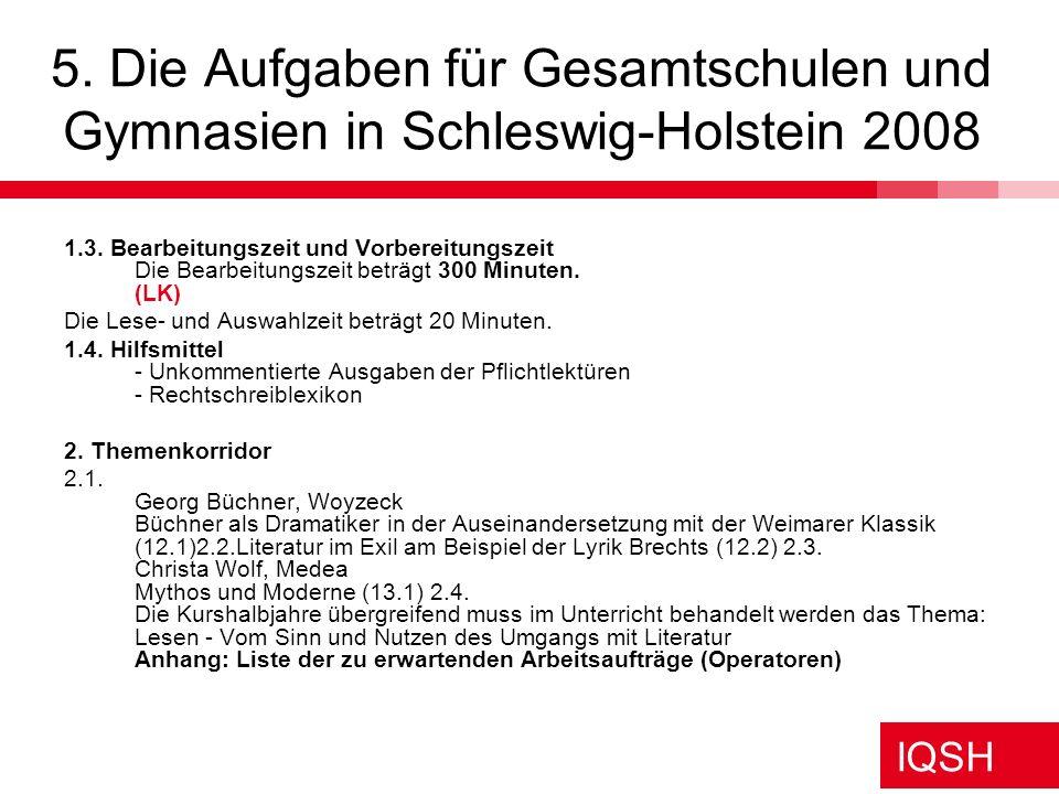 5. Die Aufgaben für Gesamtschulen und Gymnasien in Schleswig-Holstein 2008