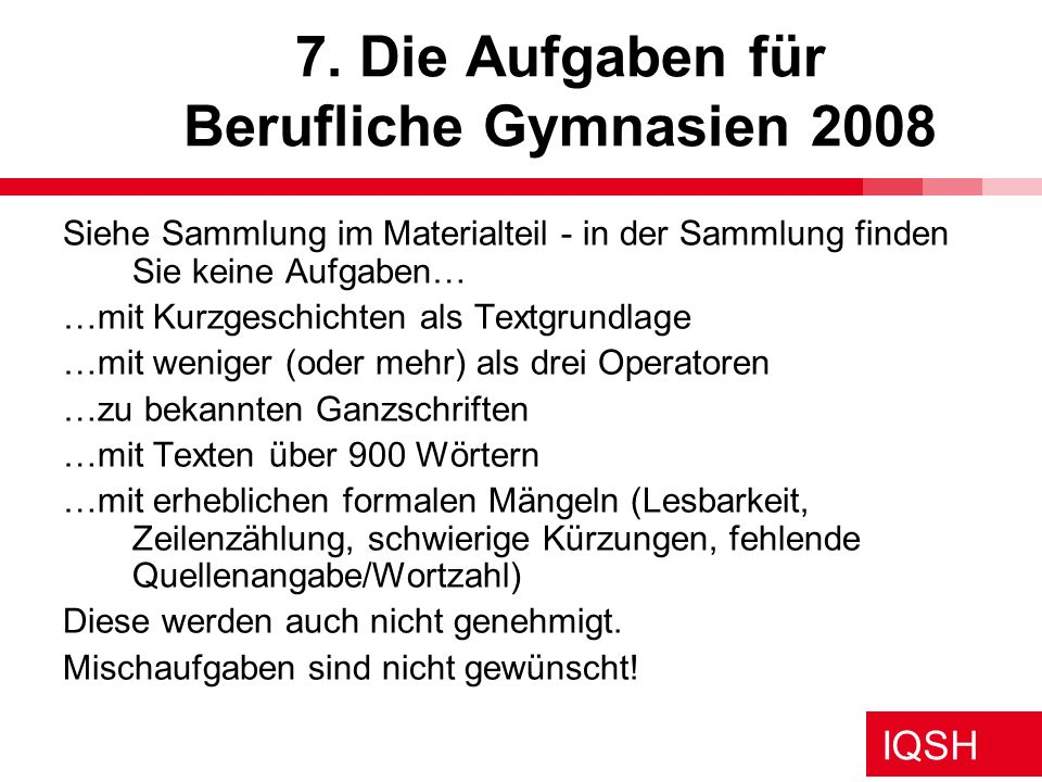 7. Die Aufgaben für Berufliche Gymnasien 2008