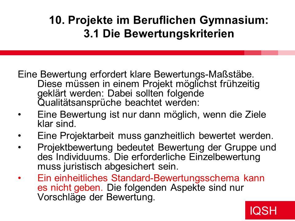10. Projekte im Beruflichen Gymnasium: 3.1 Die Bewertungskriterien