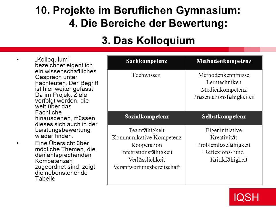 10. Projekte im Beruflichen Gymnasium: 4. Die Bereiche der Bewertung: 3. Das Kolloquium