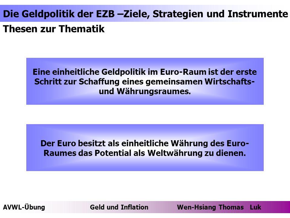 Thesen zur Thematik Eine einheitliche Geldpolitik im Euro-Raum ist der erste Schritt zur Schaffung eines gemeinsamen Wirtschafts- und Währungsraumes.