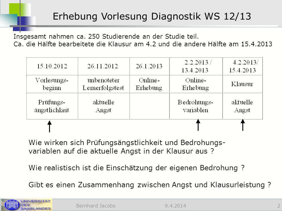 Erhebung Vorlesung Diagnostik WS 12/13