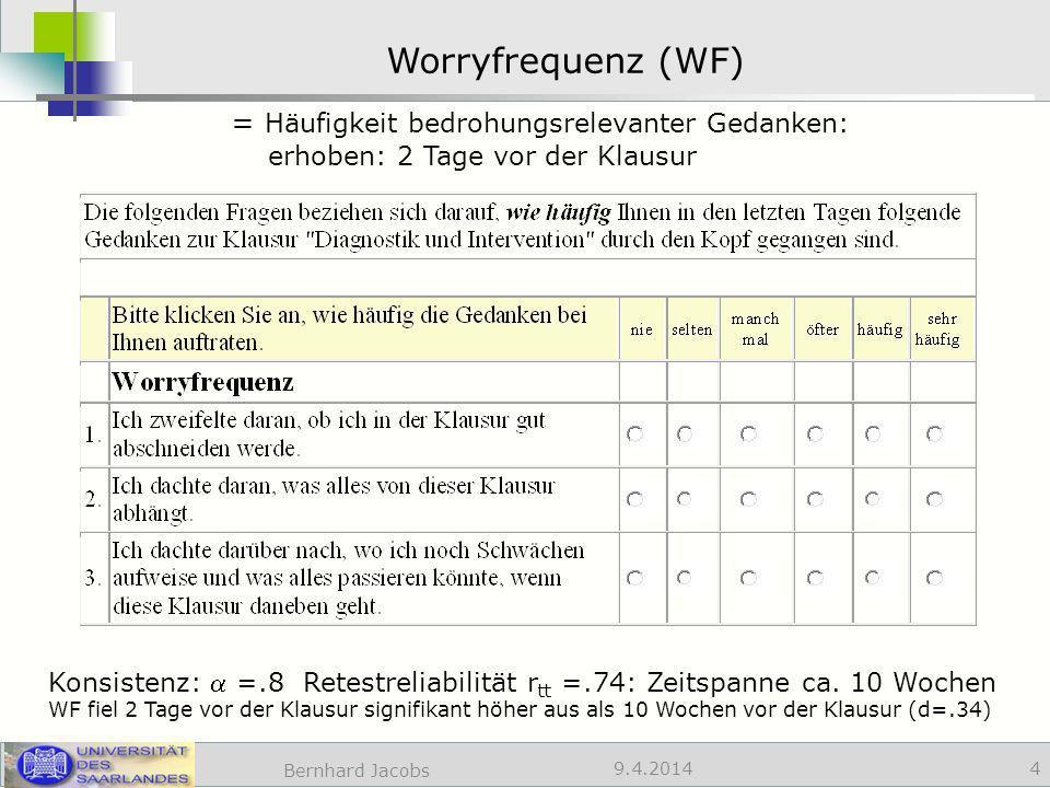 Worryfrequenz (WF) = Häufigkeit bedrohungsrelevanter Gedanken: erhoben: 2 Tage vor der Klausur.