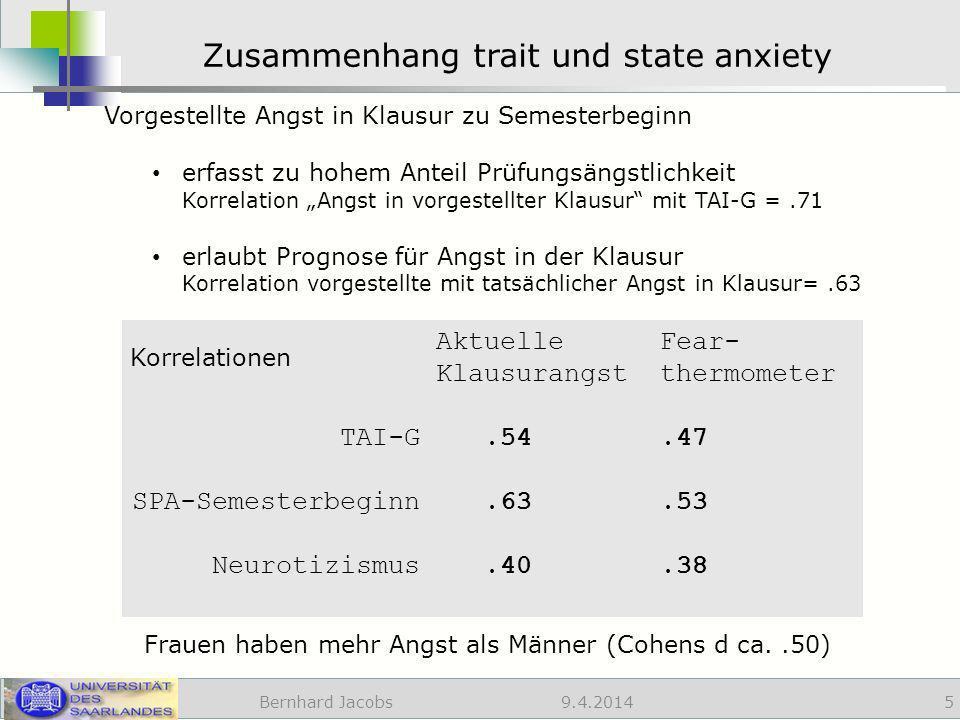 Zusammenhang trait und state anxiety