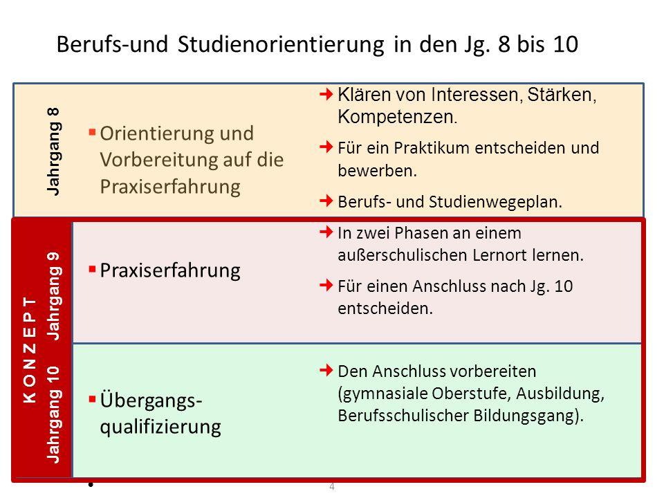 Berufs-und Studienorientierung in den Jg. 8 bis 10