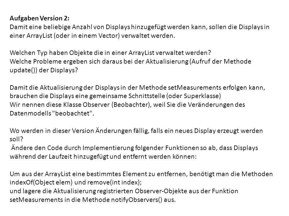 Aufgaben Version 2: