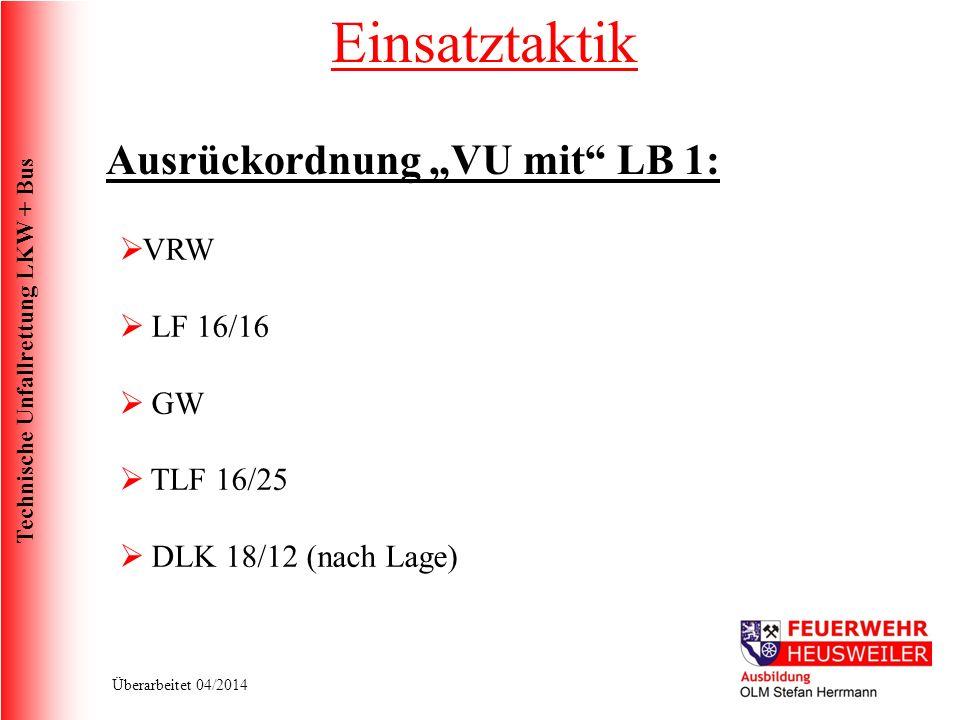 """Einsatztaktik Ausrückordnung """"VU mit LB 1: VRW LF 16/16 GW TLF 16/25"""