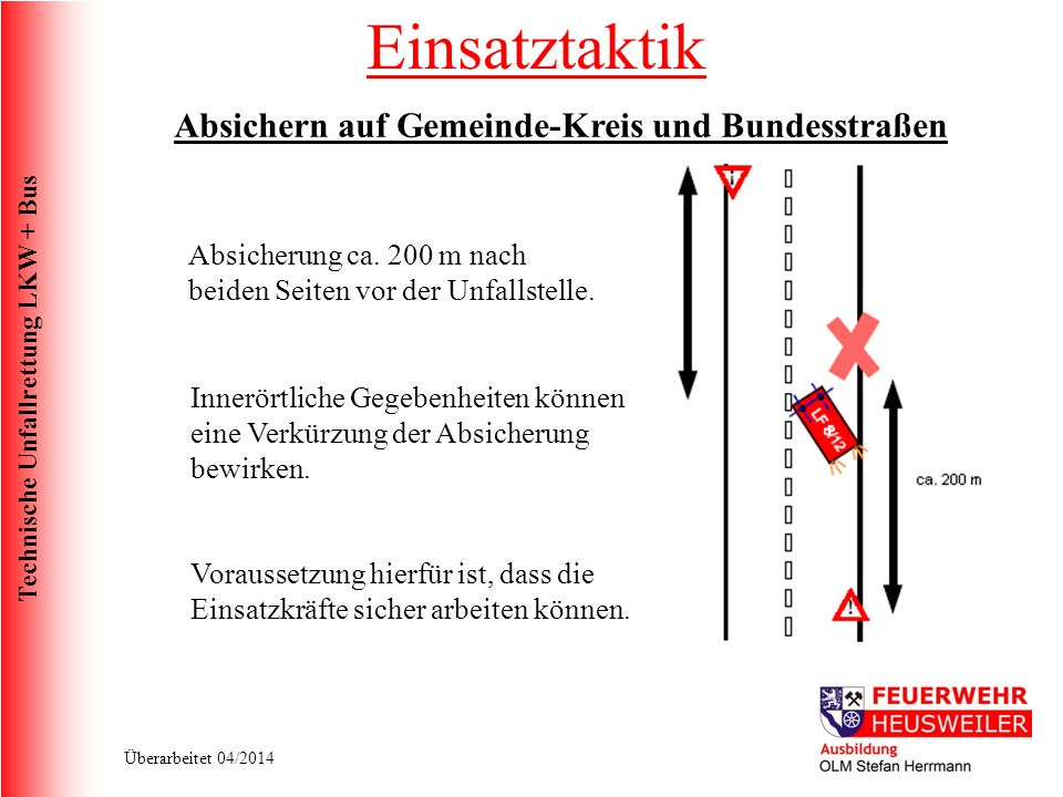 Einsatztaktik Absichern auf Gemeinde-Kreis und Bundesstraßen