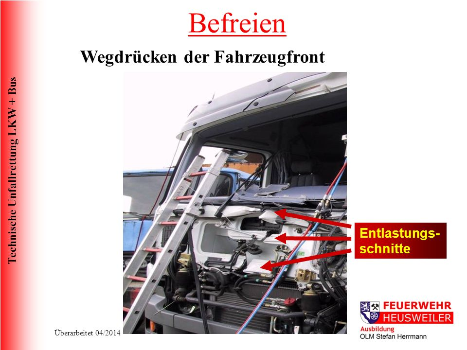 Befreien Wegdrücken der Fahrzeugfront Entlastungs-schnitte