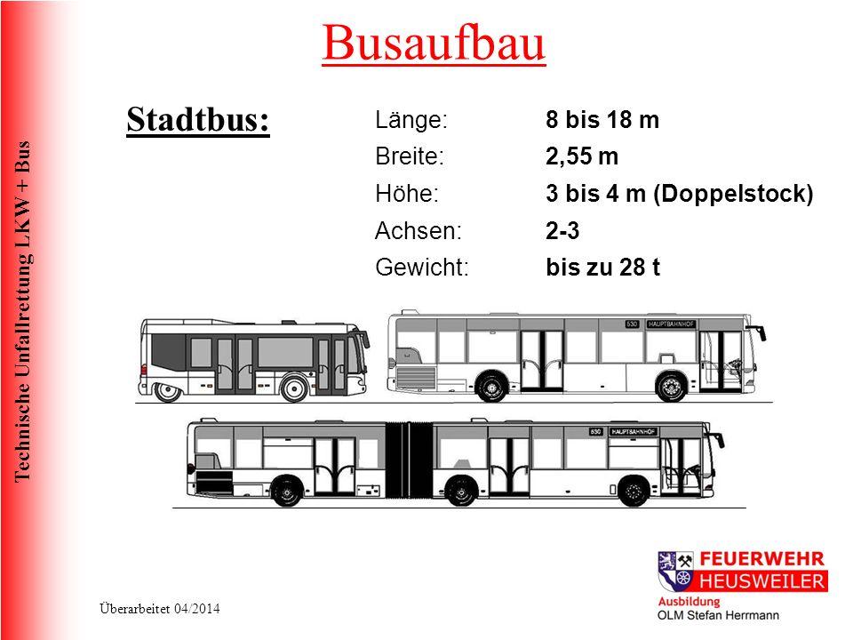 Busaufbau Stadtbus: Länge: 8 bis 18 m Breite: 2,55 m