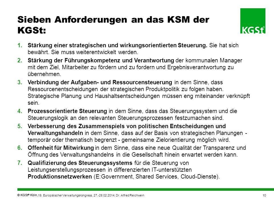 Sieben Anforderungen an das KSM der KGSt:
