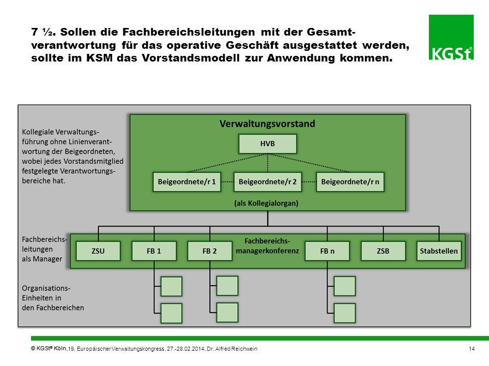 7 ½. Sollen die Fachbereichsleitungen mit der Gesamt-verantwortung für das operative Geschäft ausgestattet werden, sollte im KSM das Vorstandsmodell zur Anwendung kommen.