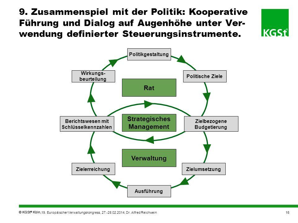 9. Zusammenspiel mit der Politik: Kooperative Führung und Dialog auf Augenhöhe unter Ver-wendung definierter Steuerungsinstrumente.