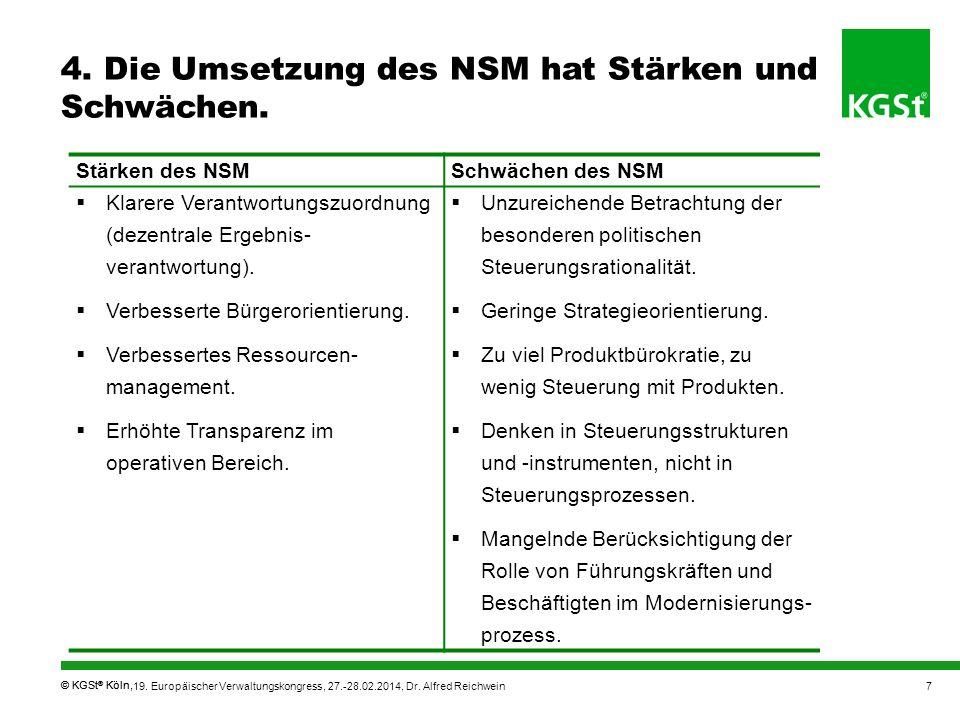 4. Die Umsetzung des NSM hat Stärken und Schwächen.