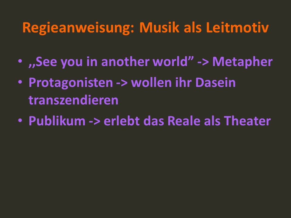 Regieanweisung: Musik als Leitmotiv