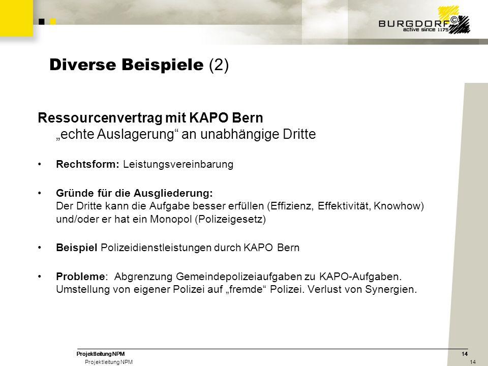"""Diverse Beispiele (2) Ressourcenvertrag mit KAPO Bern """"echte Auslagerung an unabhängige Dritte. Rechtsform: Leistungsvereinbarung."""
