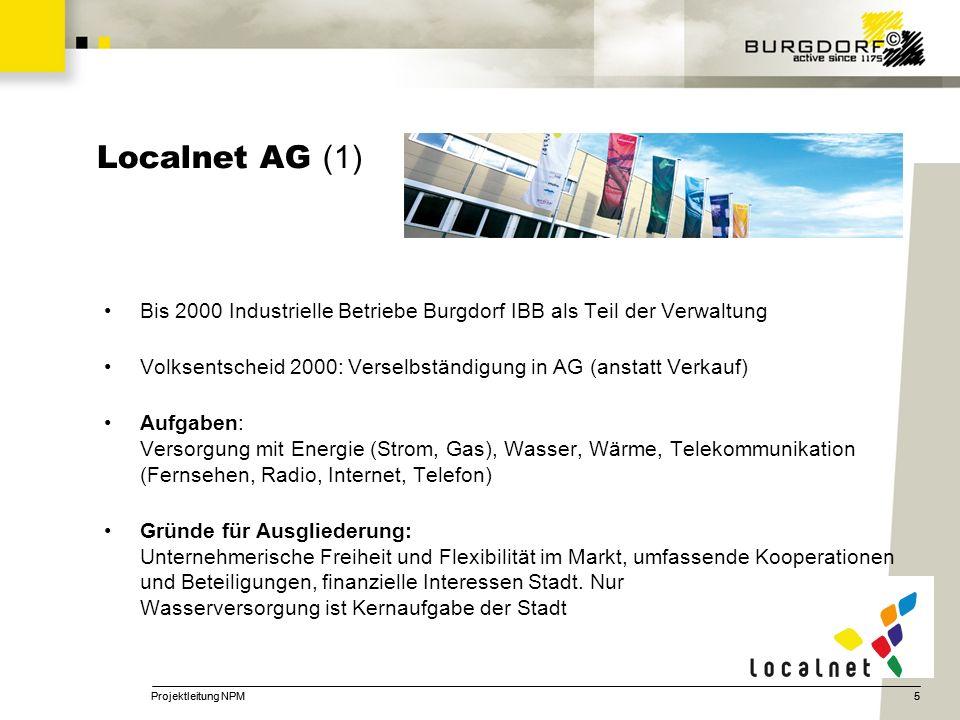 Localnet AG (1) Bis 2000 Industrielle Betriebe Burgdorf IBB als Teil der Verwaltung. Volksentscheid 2000: Verselbständigung in AG (anstatt Verkauf)