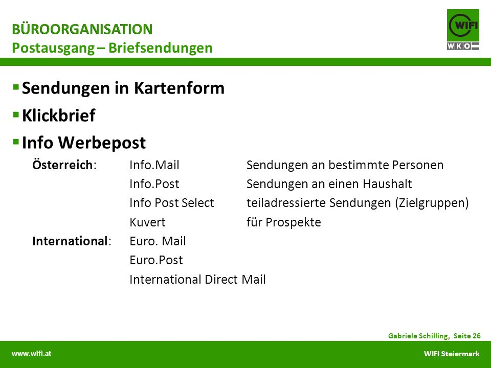 Postausgang – Briefsendungen