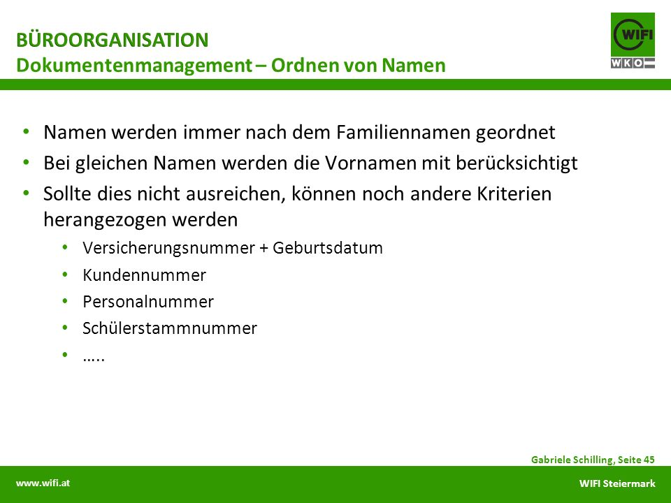 Dokumentenmanagement – Ordnen von Namen
