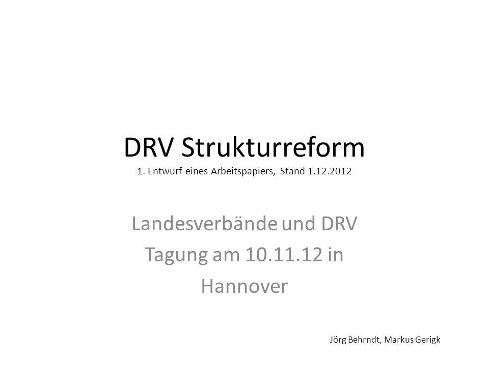 DRV Strukturreform 1. Entwurf eines Arbeitspapiers, Stand 1.12.2012