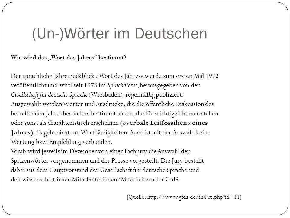 (Un-)Wörter im Deutschen