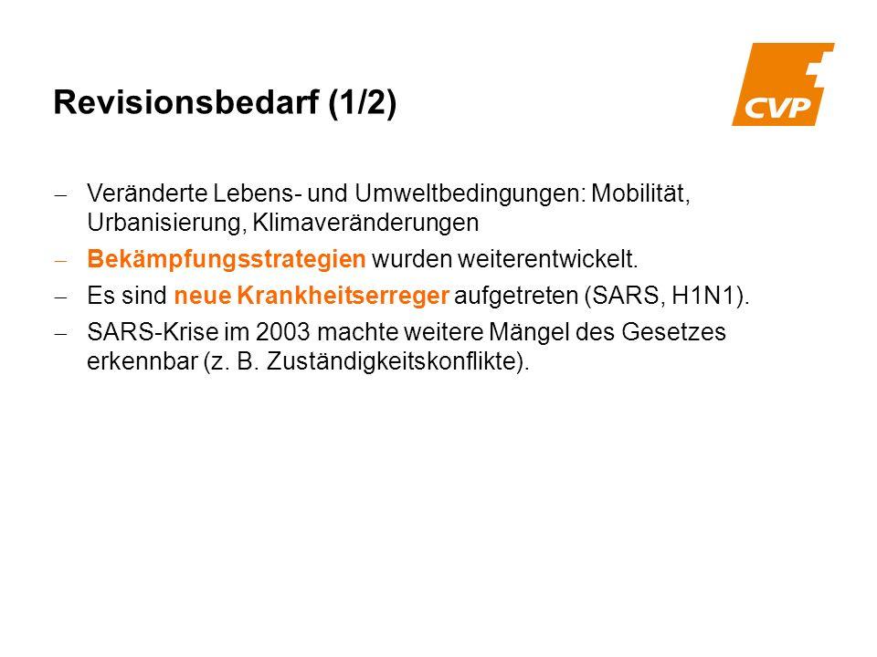 Revisionsbedarf (1/2) Veränderte Lebens- und Umweltbedingungen: Mobilität, Urbanisierung, Klimaveränderungen.