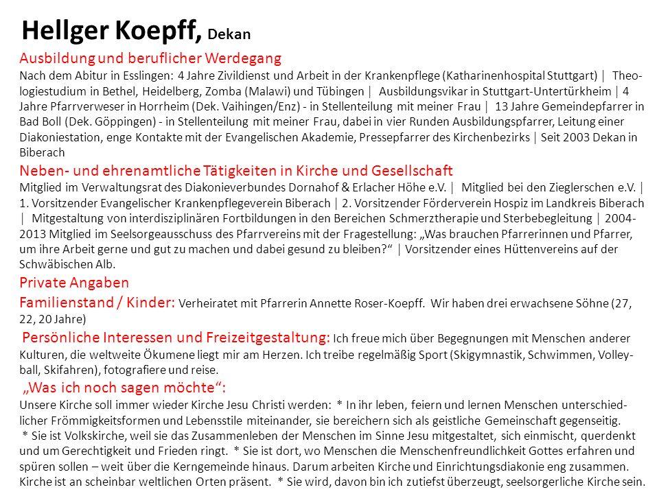 Hellger Koepff, Dekan Ausbildung und beruflicher Werdegang