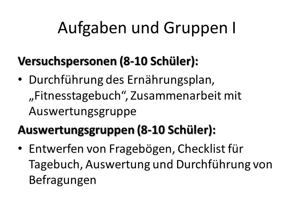 Aufgaben und Gruppen I Versuchspersonen (8-10 Schüler):