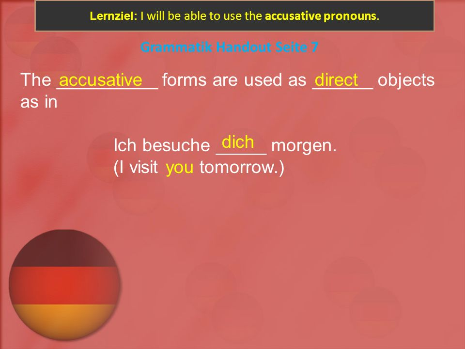 Lernziel: I will be able to use the accusative pronouns.