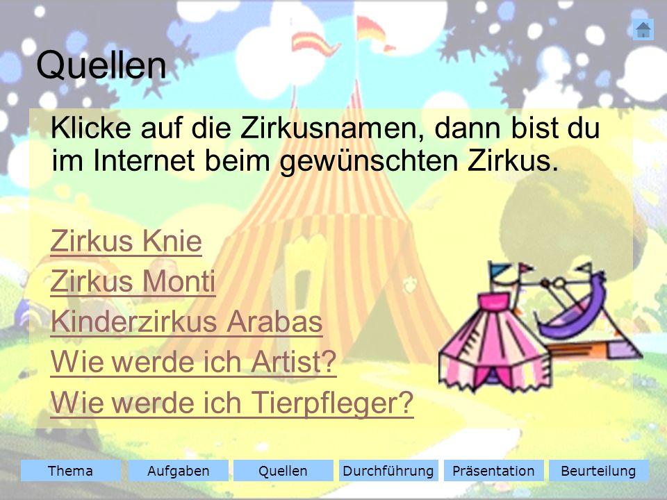 Quellen Klicke auf die Zirkusnamen, dann bist du im Internet beim gewünschten Zirkus. Zirkus Knie.