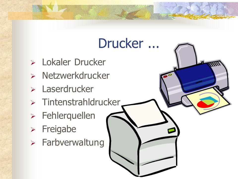 Drucker ... Lokaler Drucker Netzwerkdrucker Laserdrucker