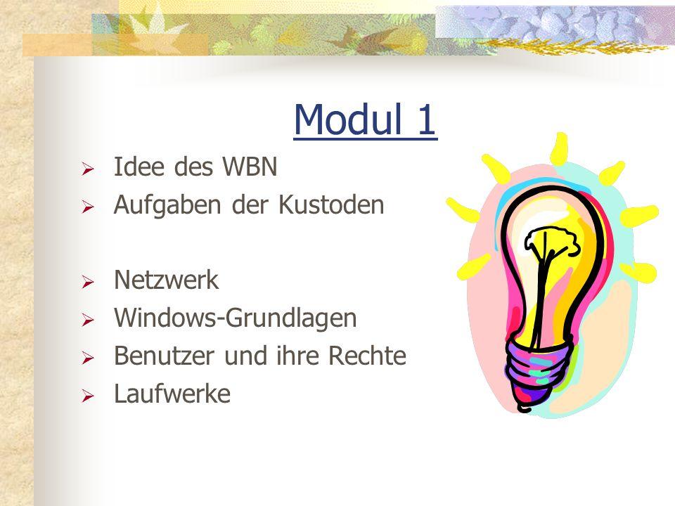 Modul 1 Idee des WBN Aufgaben der Kustoden Netzwerk Windows-Grundlagen