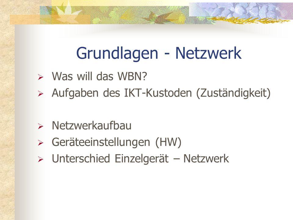 Grundlagen - Netzwerk Was will das WBN