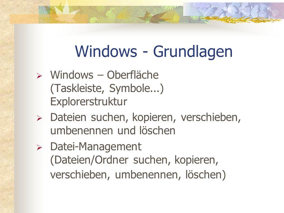 Windows - Grundlagen Windows – Oberfläche (Taskleiste, Symbole...) Explorerstruktur. Dateien suchen, kopieren, verschieben, umbenennen und löschen.