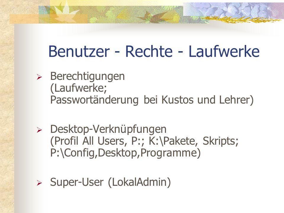 Benutzer - Rechte - Laufwerke